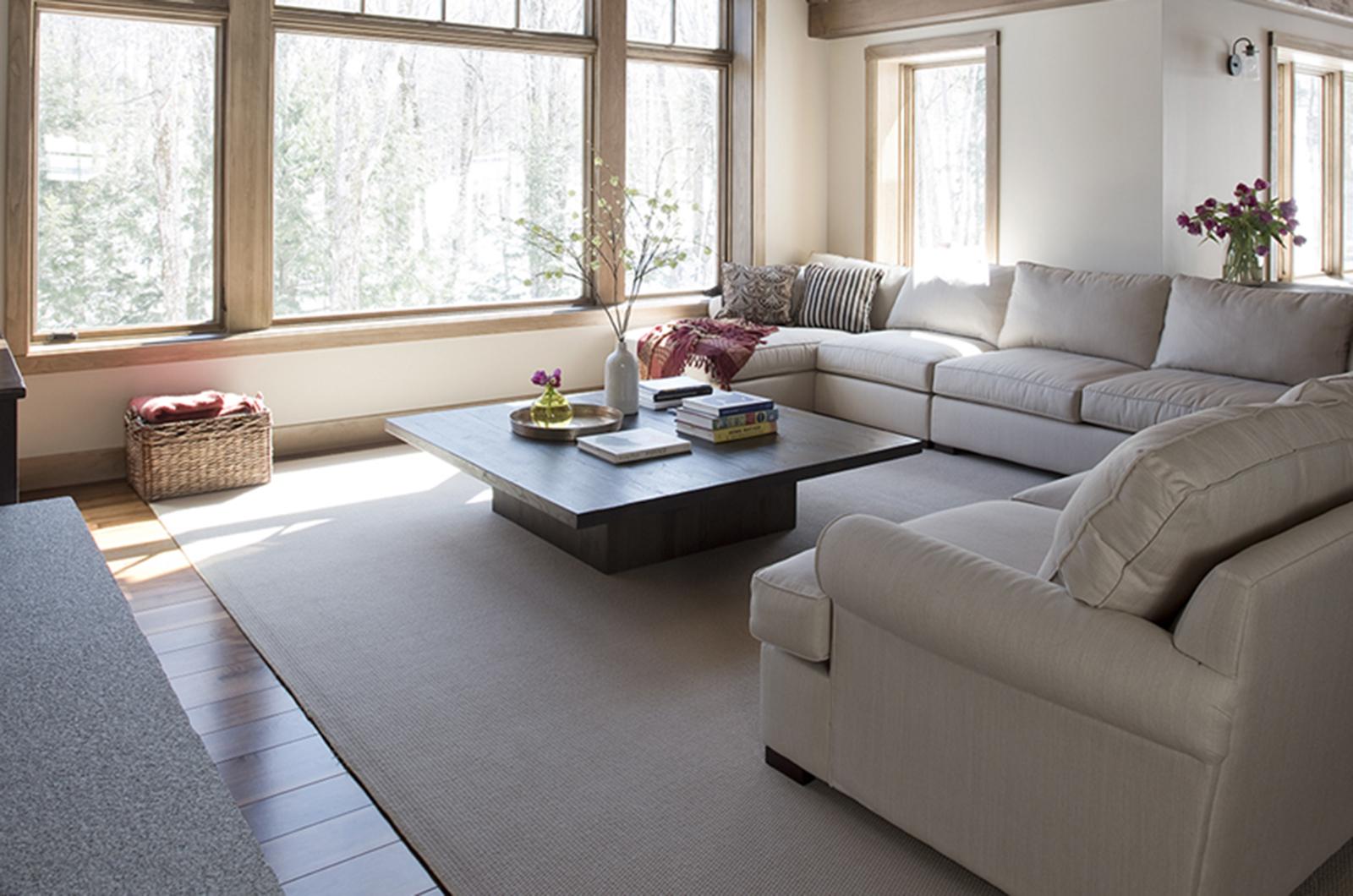 Vermont ski house by Bensonwood living room