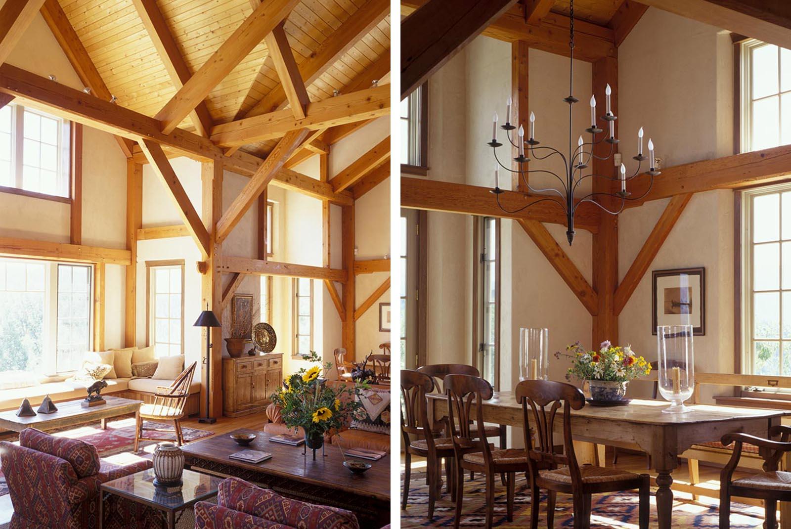 High Estate mountain living timberframe open living area